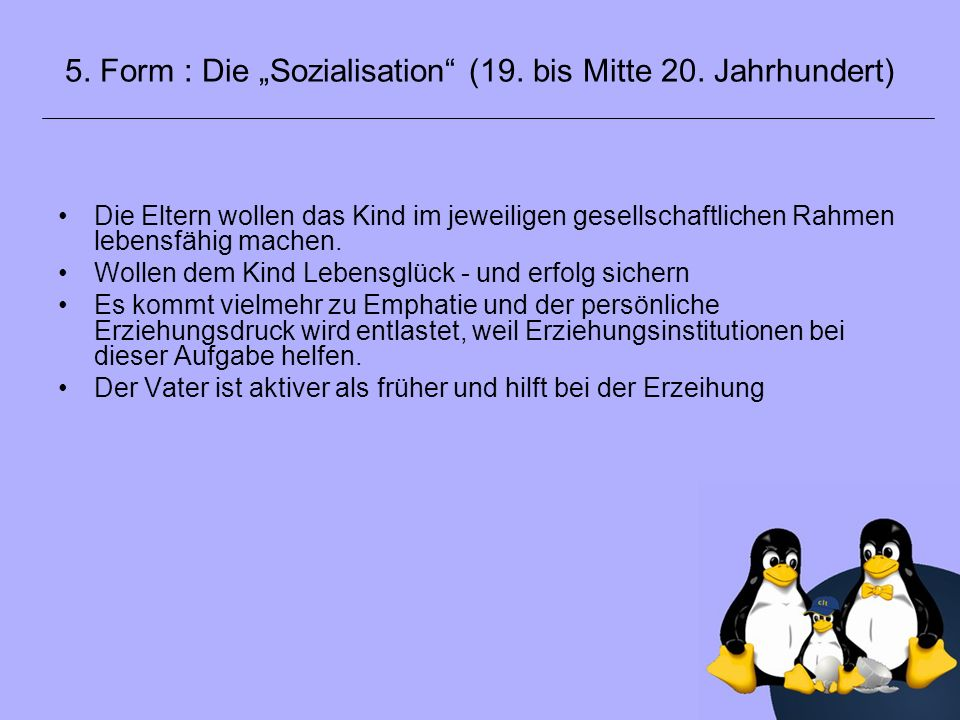 """5. Form : Die """"Sozialisation (19. bis Mitte 20. Jahrhundert)"""