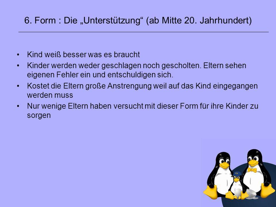 """6. Form : Die """"Unterstützung (ab Mitte 20. Jahrhundert)"""