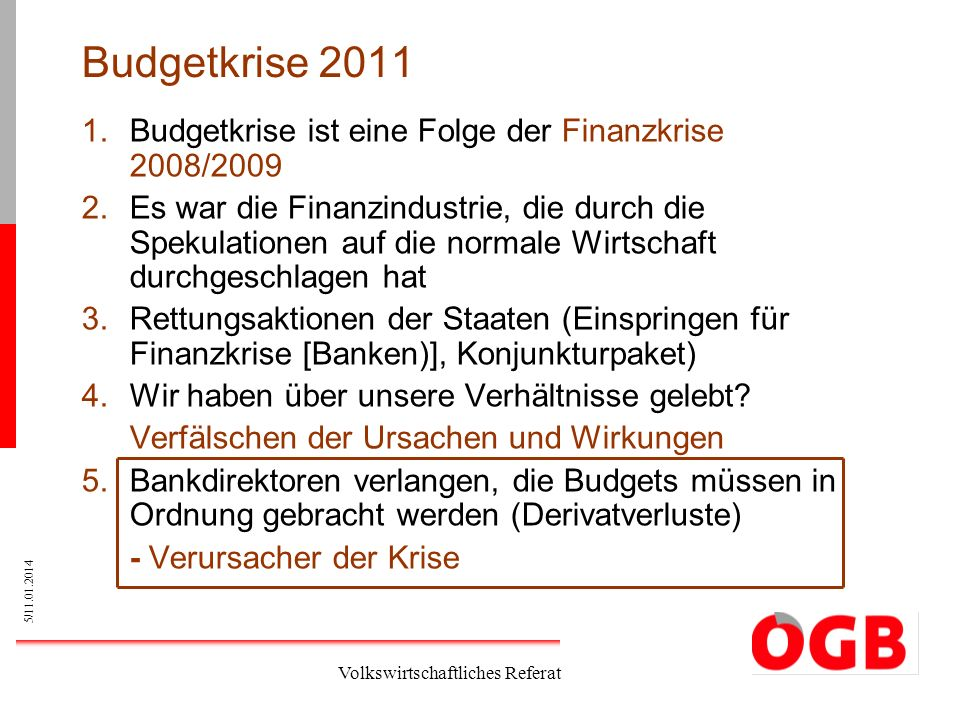 Budgetkrise 2011 Budgetkrise ist eine Folge der Finanzkrise 2008/2009