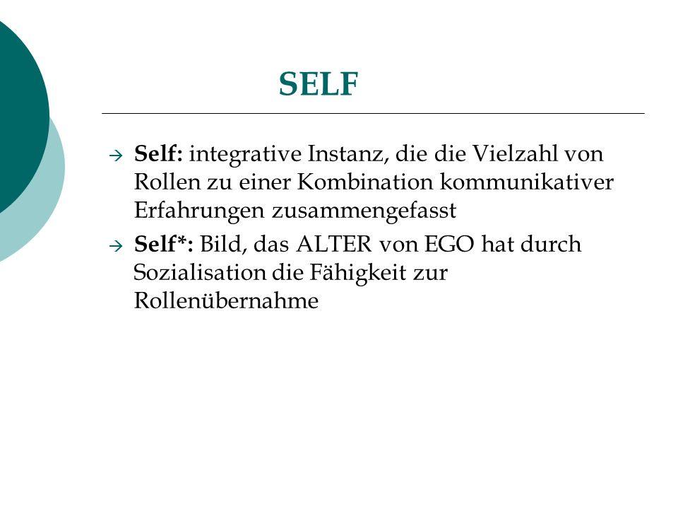 SELF Self: integrative Instanz, die die Vielzahl von Rollen zu einer Kombination kommunikativer Erfahrungen zusammengefasst.