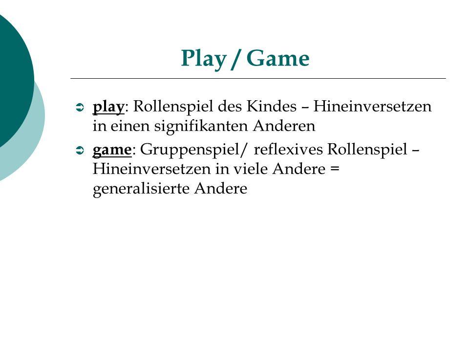 Play / Game play: Rollenspiel des Kindes – Hineinversetzen in einen signifikanten Anderen.