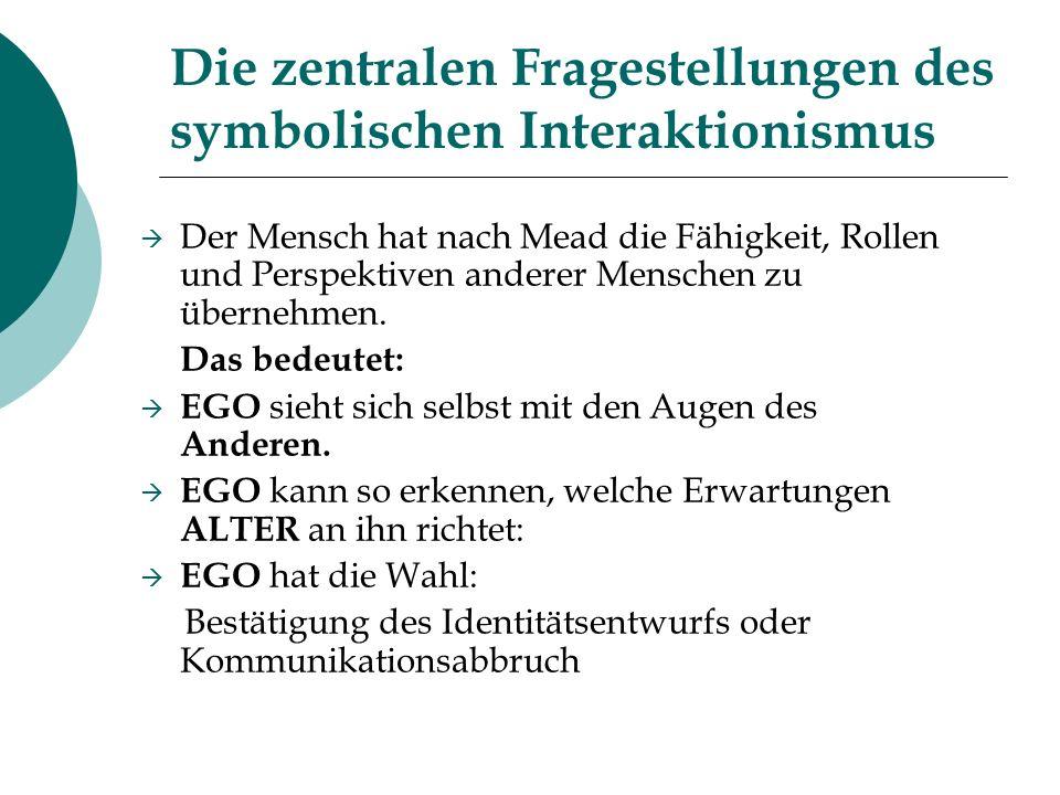 Die zentralen Fragestellungen des symbolischen Interaktionismus
