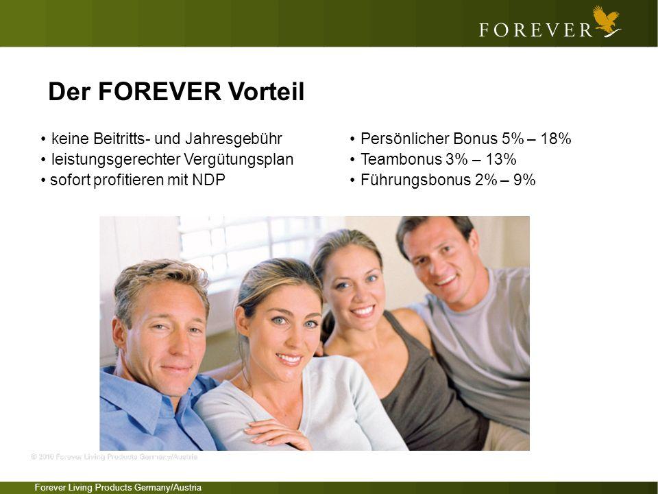 Der FOREVER Vorteil • keine Beitritts- und Jahresgebühr