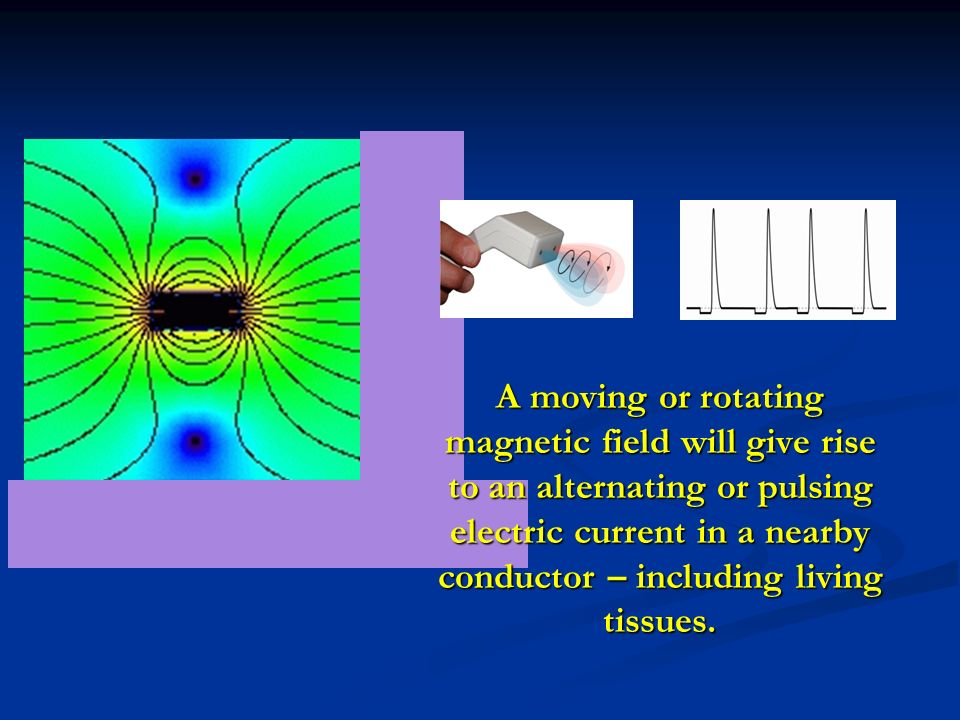 A moving or rotating magnetic field will give rise to an alternating or pulsing electric current in a nearby conductor – including living tissues.