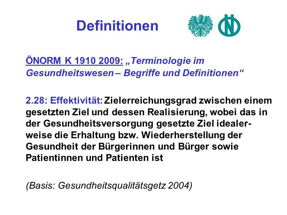 """Definitionen ÖNORM K 1910 2009: """"Terminologie im Gesundheitswesen – Begriffe und Definitionen"""