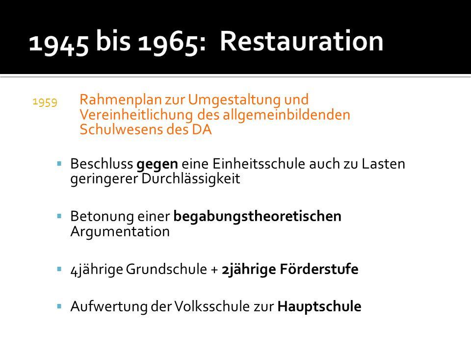 1945 bis 1965: Restauration Rahmenplan zur Umgestaltung und Vereinheitlichung des allgemeinbildenden Schulwesens des DA.