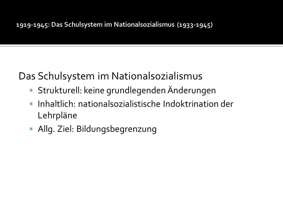 1919-1945: Das Schulsystem im Nationalsozialismus (1933-1945)