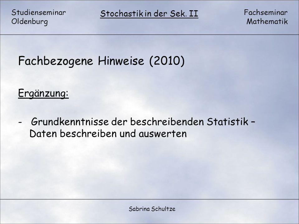Fachbezogene Hinweise (2010)