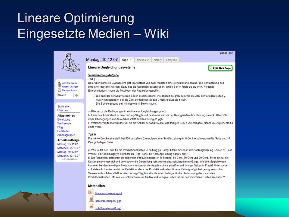 Lineare Optimierung Eingesetzte Medien – Wiki