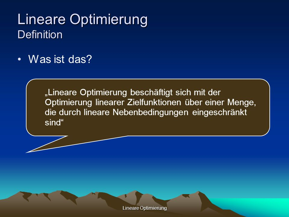 Lineare Optimierung Definition
