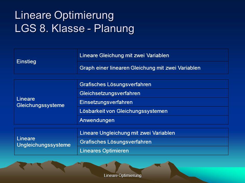 Lineare Optimierung LGS 8. Klasse - Planung