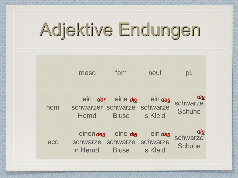 Adjektive Endungen masc fem neut pl. nom ein schwarzer Hemd