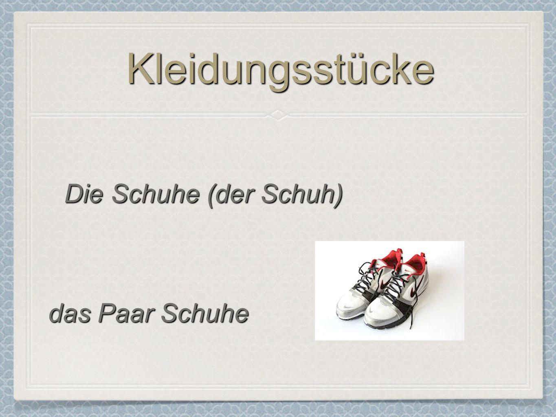 Kleidungsstücke Die Schuhe (der Schuh) das Paar Schuhe