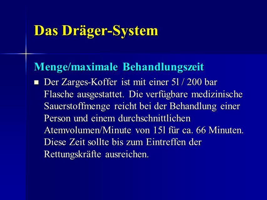 Das Dräger-System Menge/maximale Behandlungszeit