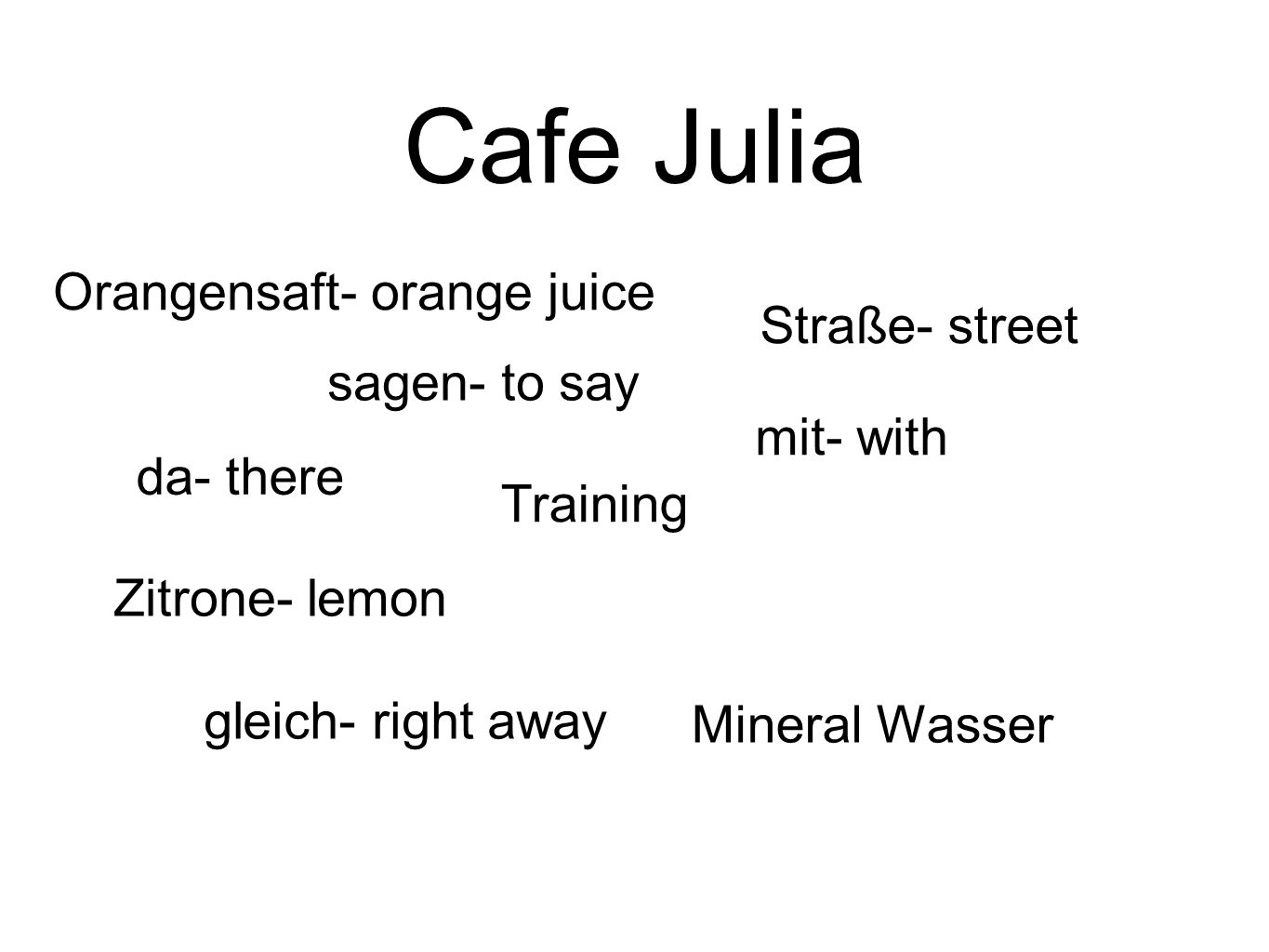 Cafe Julia Orangensaft- orange juice Straße- street sagen- to say