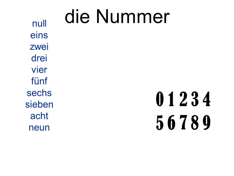 die Nummer null eins zwei drei vier fünf sechs sieben acht neun