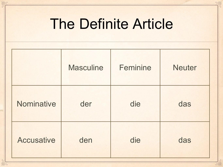 The Definite Article Masculine Feminine Neuter Nominative der die das