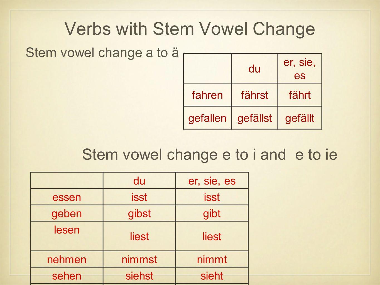 Verbs with Stem Vowel Change