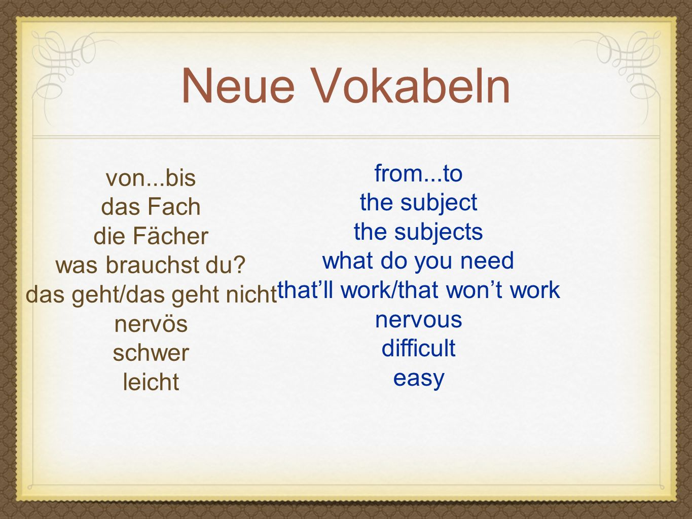 Neue Vokabeln from...to von...bis the subject das Fach the subjects