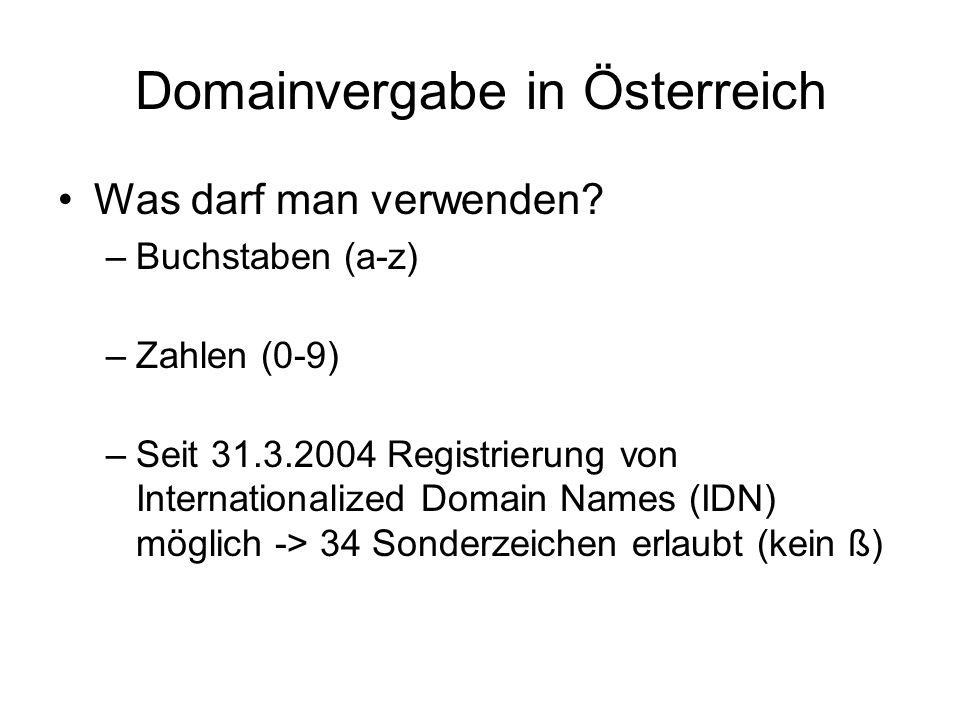 Domainvergabe in Österreich