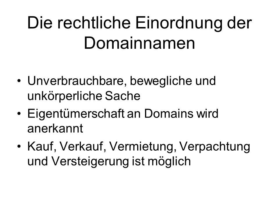 Die rechtliche Einordnung der Domainnamen