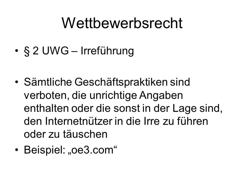 Wettbewerbsrecht § 2 UWG – Irreführung