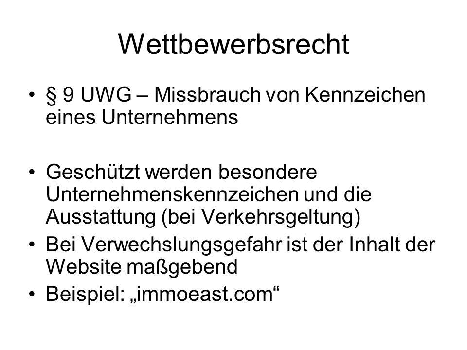 Wettbewerbsrecht § 9 UWG – Missbrauch von Kennzeichen eines Unternehmens.