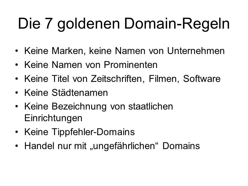 Die 7 goldenen Domain-Regeln