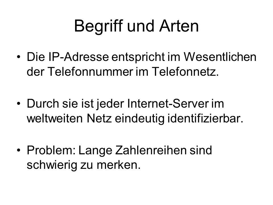 Begriff und Arten Die IP-Adresse entspricht im Wesentlichen der Telefonnummer im Telefonnetz.
