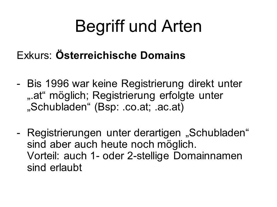 Begriff und Arten Exkurs: Österreichische Domains