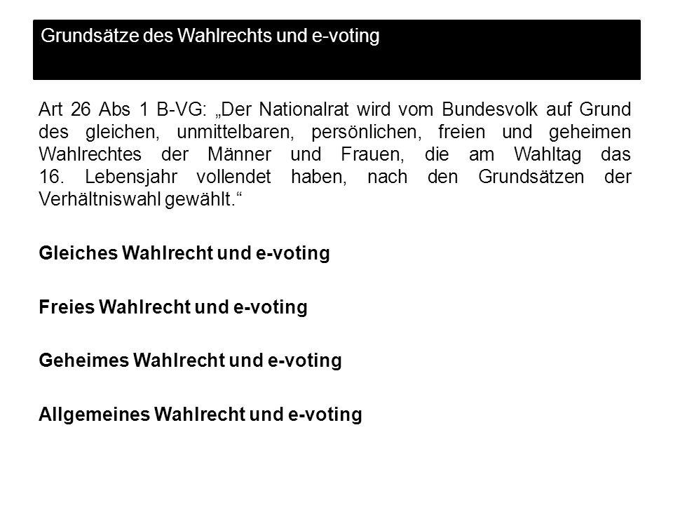 Grundsätze des Wahlrechts und e-voting
