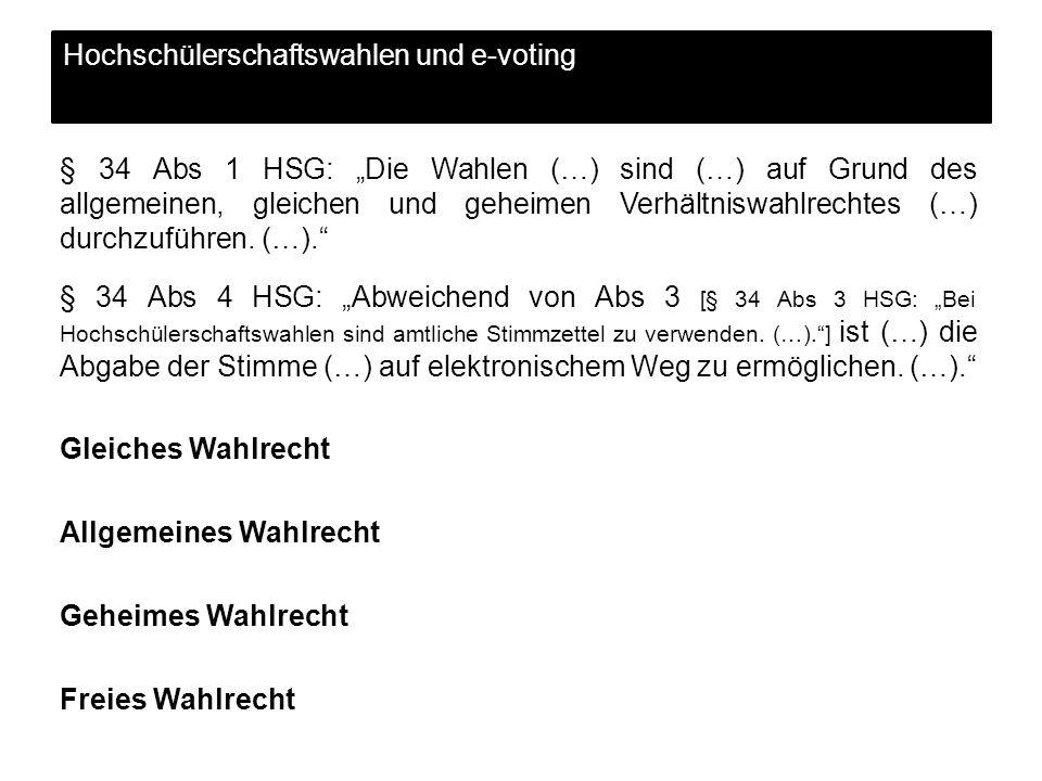 Hochschülerschaftswahlen und e-voting