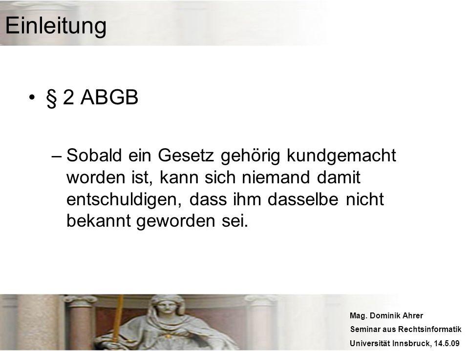 Einleitung § 2 ABGB.