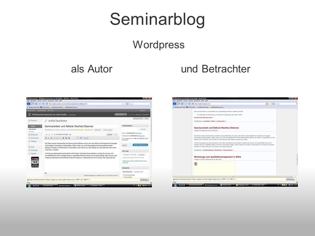Seminarblog Wordpress als Autor und Betrachter