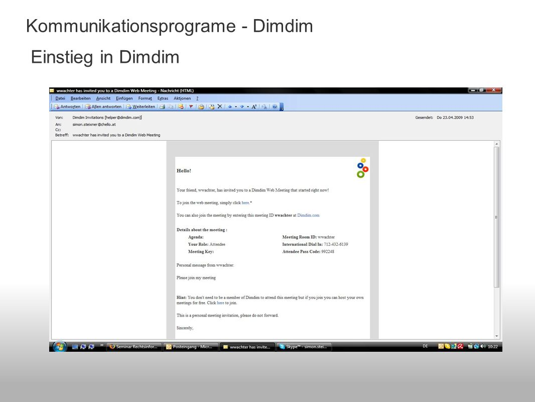 Kommunikationsprograme - Dimdim