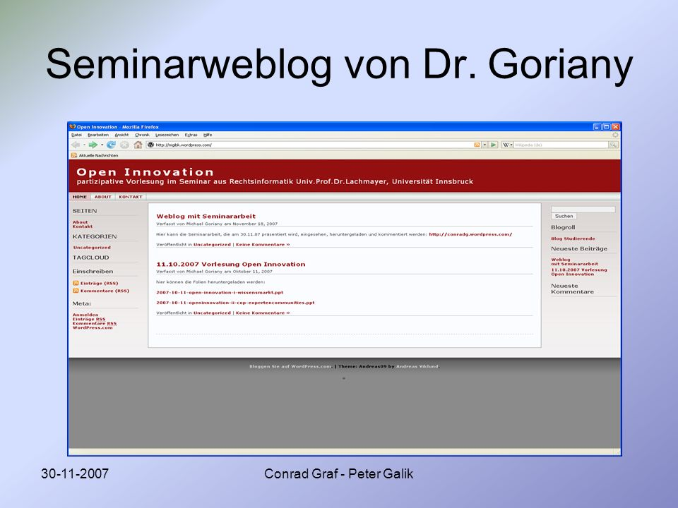 Seminarweblog von Dr. Goriany