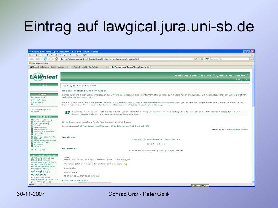 Eintrag auf lawgical.jura.uni-sb.de