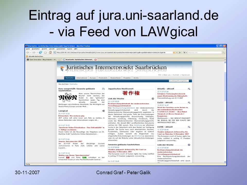 Eintrag auf jura.uni-saarland.de - via Feed von LAWgical