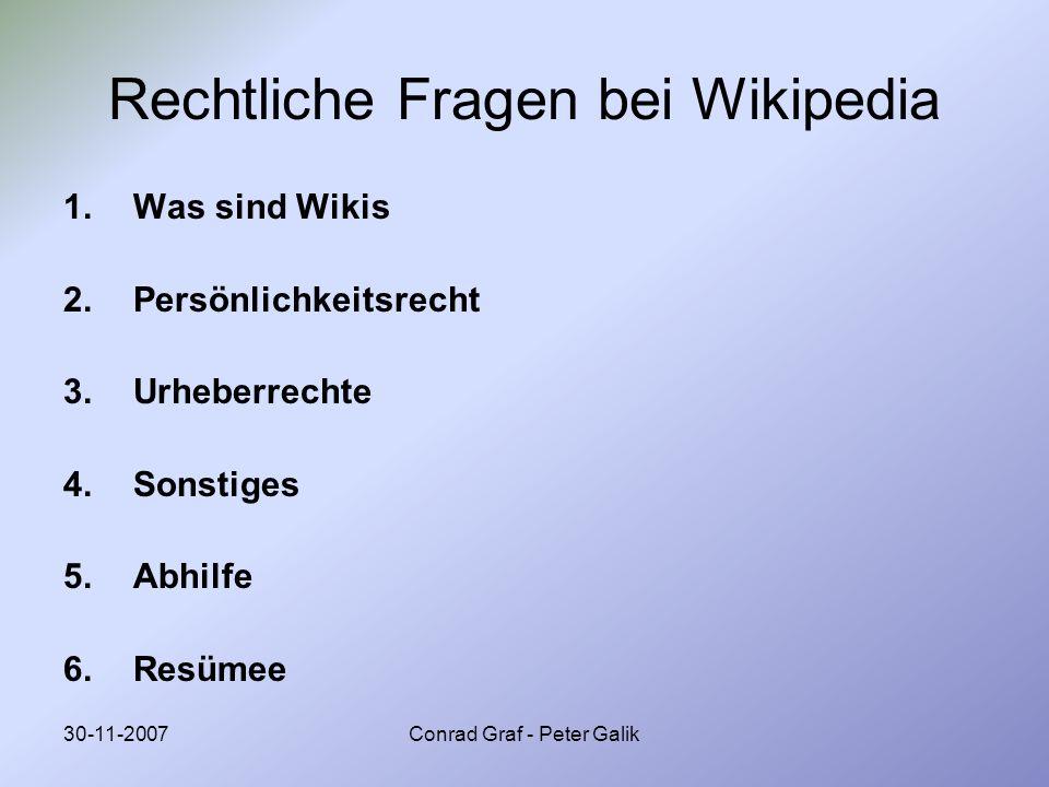 Rechtliche Fragen bei Wikipedia