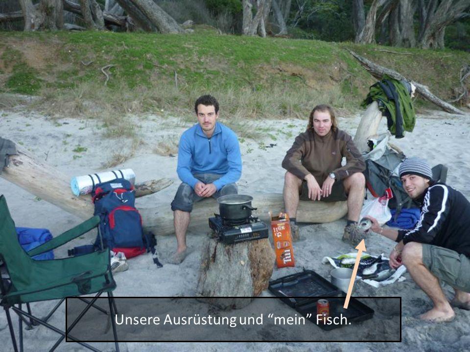 Unsere Ausrüstung und mein Fisch.