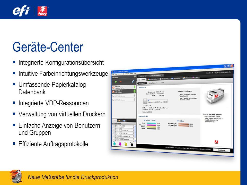 Geräte-Center Integrierte Konfigurationsübersicht