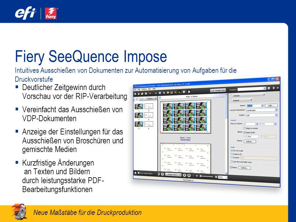 Fiery SeeQuence Impose Intuitives Ausschießen von Dokumenten zur Automatisierung von Aufgaben für die Druckvorstufe