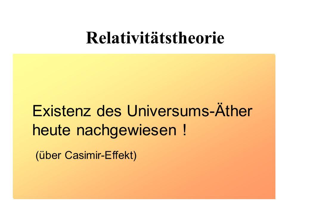 Relativitätstheorie Existenz des Universums-Äther heute nachgewiesen !