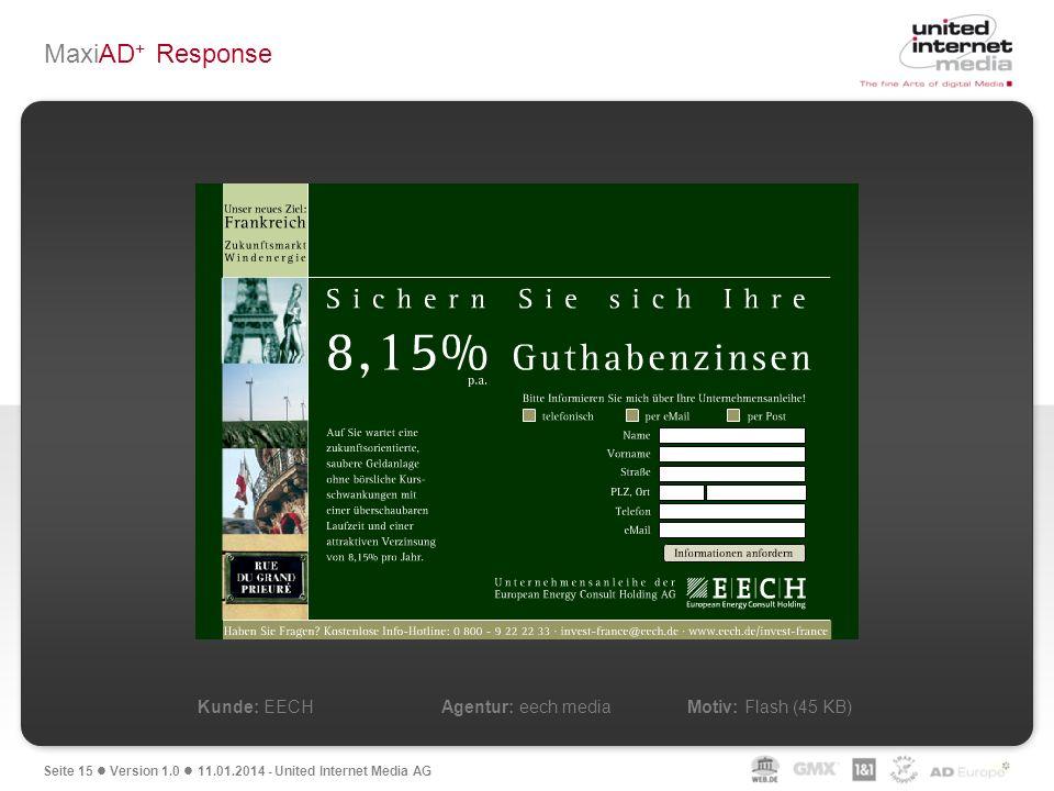 MaxiAD+ Response Kunde: EECH Agentur: eech media Motiv: Flash (45 KB)