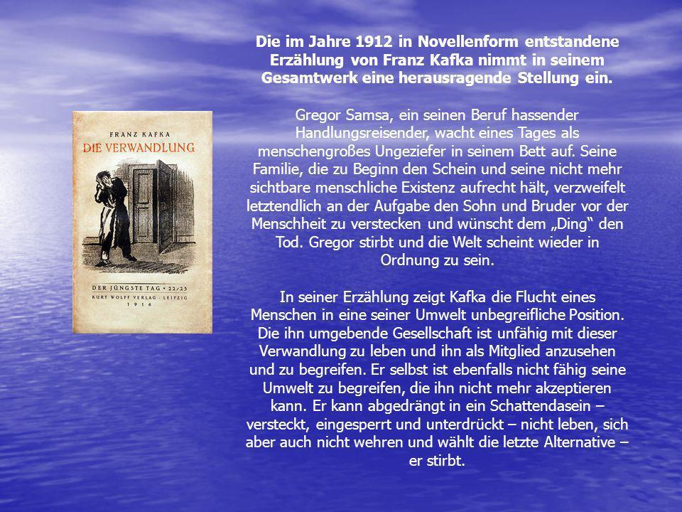Die im Jahre 1912 in Novellenform entstandene Erzählung von Franz Kafka nimmt in seinem Gesamtwerk eine herausragende Stellung ein.