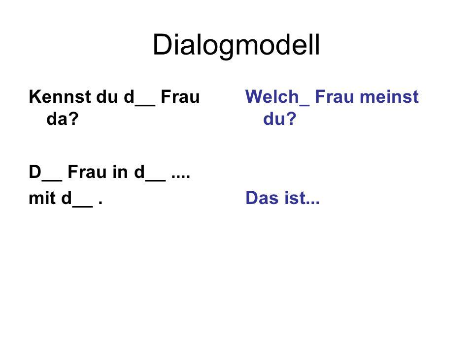 Dialogmodell Kennst du d__ Frau da D__ Frau in d__ .... mit d__ .
