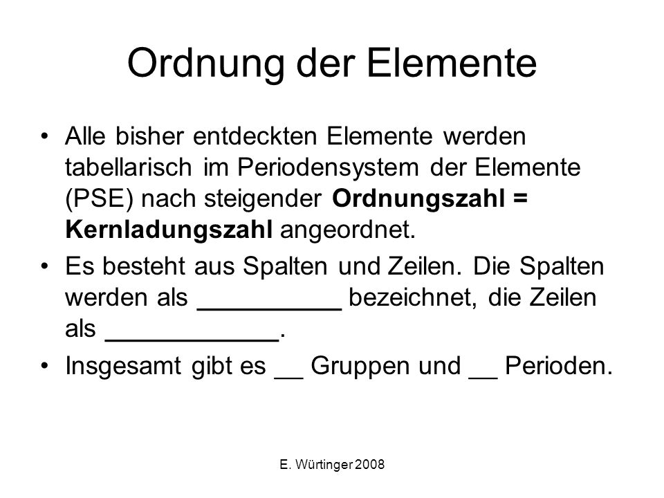 Ordnung der Elemente