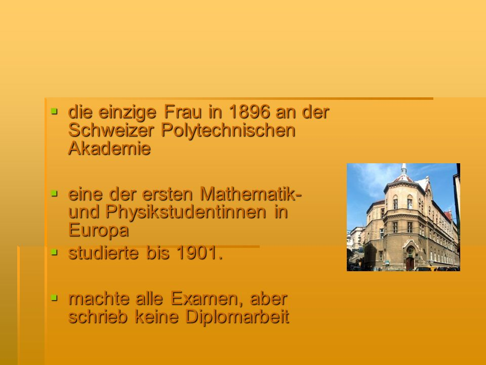 die einzige Frau in 1896 an der Schweizer Polytechnischen Akademie