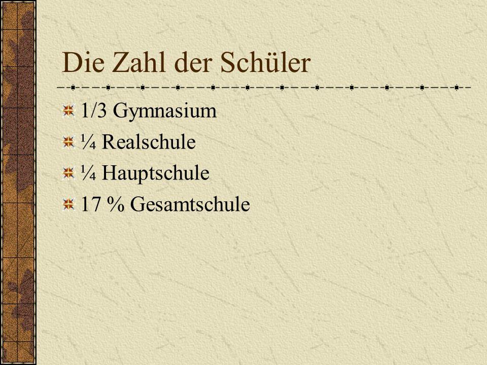 Die Zahl der Schüler 1/3 Gymnasium ¼ Realschule ¼ Hauptschule