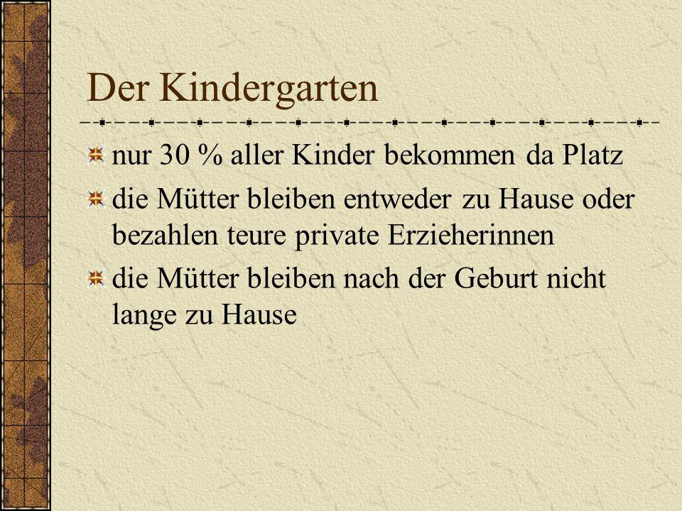 Der Kindergarten nur 30 % aller Kinder bekommen da Platz